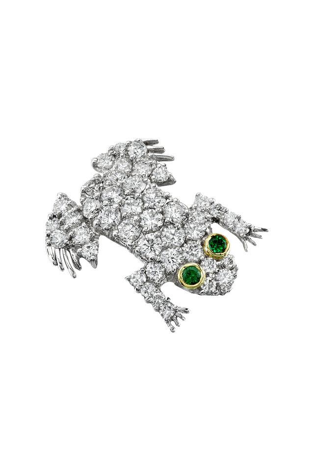 White Gold Diamond Tsavorite Frog Brooch