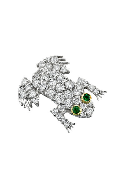 Aaron Henry - White Gold Diamond Tsavorite Frog Brooch