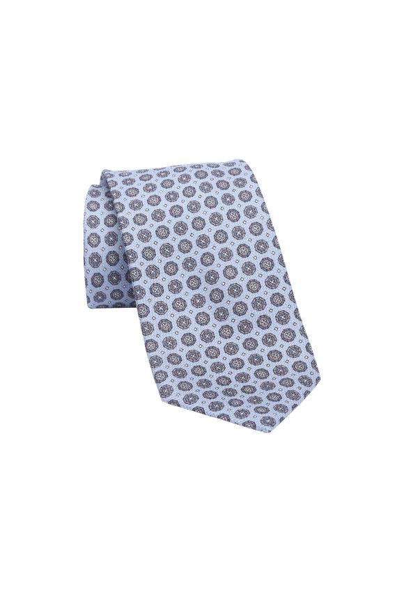 Brioni Light Blue Geometric Silk Necktie