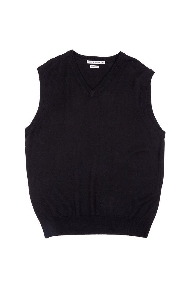 Black Merino Wool Sweater Vest