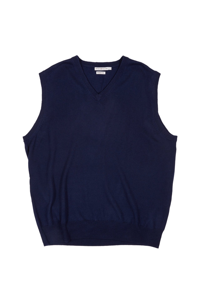 Navy Blue Merino Wool Sweater Vest