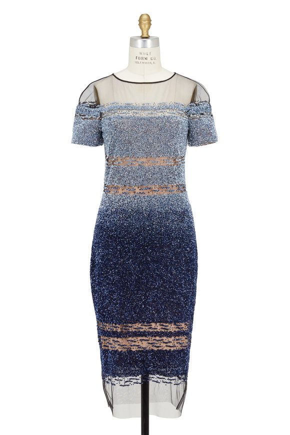 Pamella Roland Blue Sequin Ombré Short Sleeve Dress