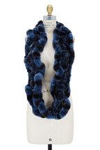 Viktoria Stass - Blue Fur Rosette Infinity Scarf
