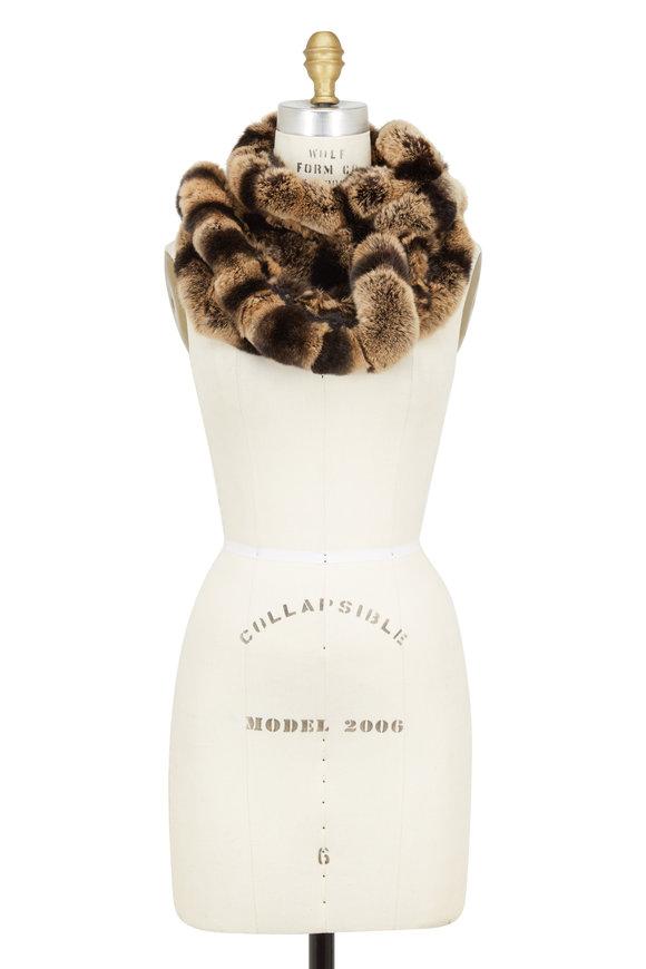 Viktoria Stass Brown Rosette Fur Infinity Scarf