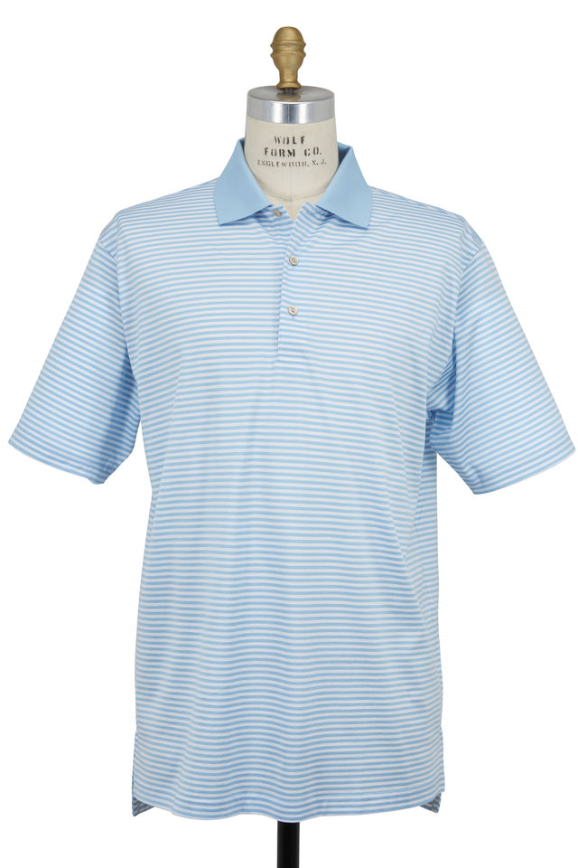 Lisle Light Blue & White Striped Luxury Polo