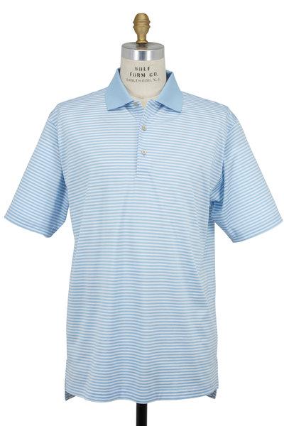 Peter Millar - Lisle Light Blue & White Striped Luxury Polo