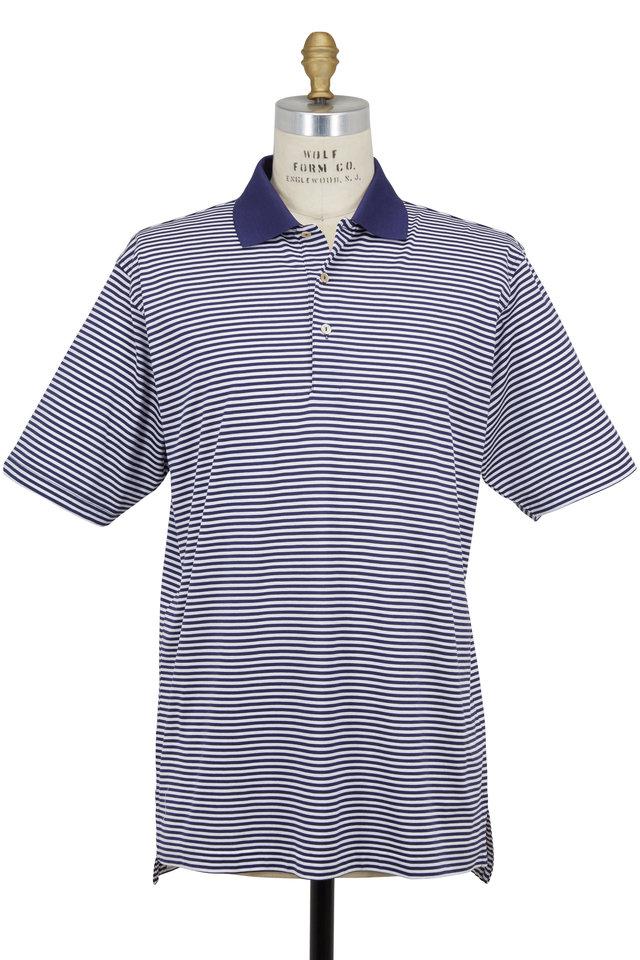 Lisle Navy Blue & White Striped Luxury Polo