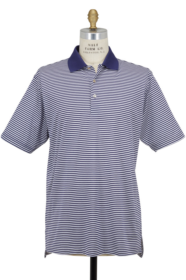 Lisle Navy Blue & White Striped Luxury Polo