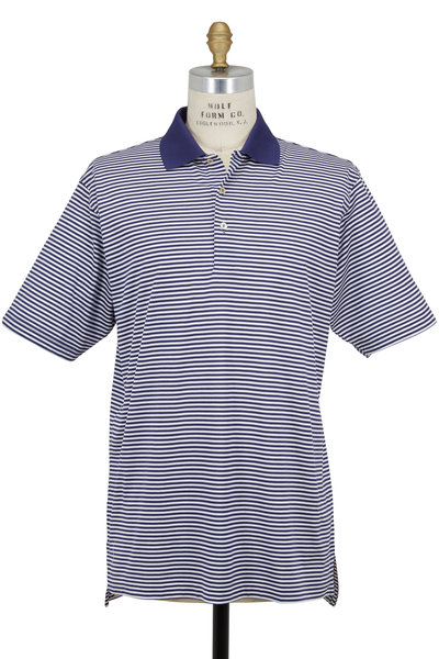 Peter Millar - Lisle Navy Blue & White Striped Luxury Polo