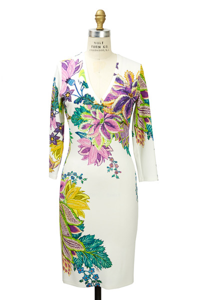 Roberto Cavalli - White Multicolor Jersey Dress