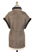 Viktoria Stass - Elephant Gray Shearling & Mink Cap Sleeve Coat