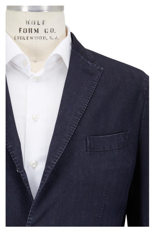 Navy Blue Micro-Herringbone Wool Sportcoat