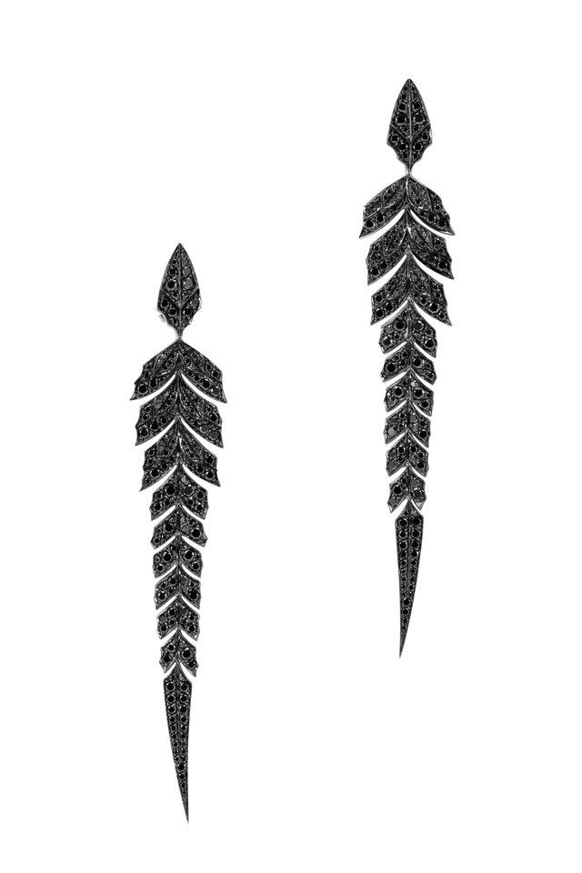 18K White Gold Black Diamond Earrings