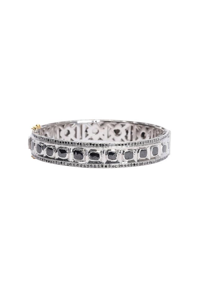 14K Gold & Sterling Silver Black Diamond Bangle
