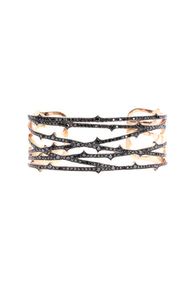 Sylva & Cie - 14K Rose Gold Black Diamond Web Cuff