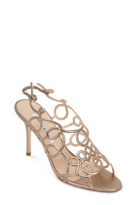 Manolo Blahnik Gori Alba Leather Squiggle Sandal, 90mm