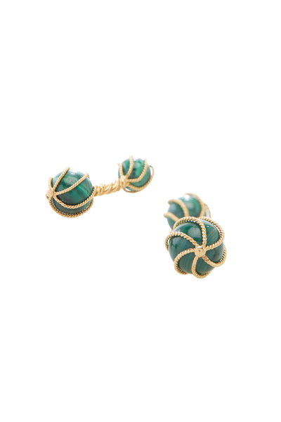 Precious - Yellow Gold Jade Ball Cuff Links