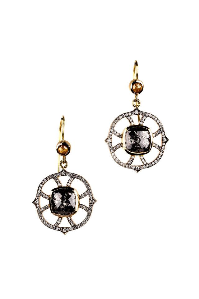 18K Gold & Silver Diamond Web Drop Earrings