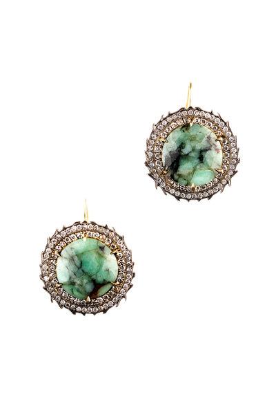 Sylva & Cie - Rough Cut Emerald Drop Earring