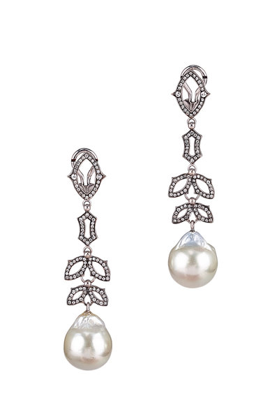 Sylva & Cie - 18K White Gold Pearl & Diamond Drop Earrings