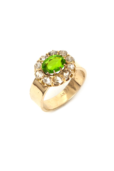 Renee Lewis - Gold Peridot Diamond Antique Ring