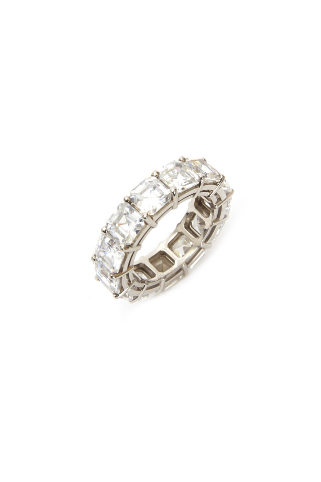 Platinum Asscher-Cut Cubic Zirconia Ring