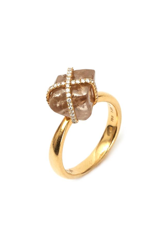 Gold Rough & White Diamond Ring