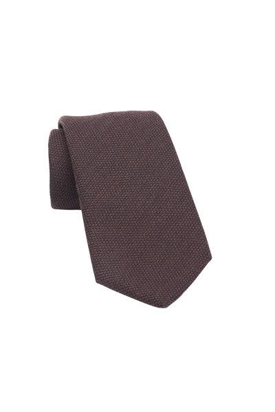 Charvet - Brown Silk & Wool Necktie