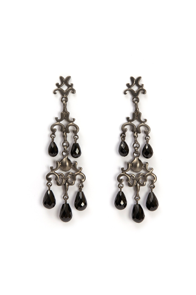 Silver Black Rhodium & Onyx Chandelier Earrings
