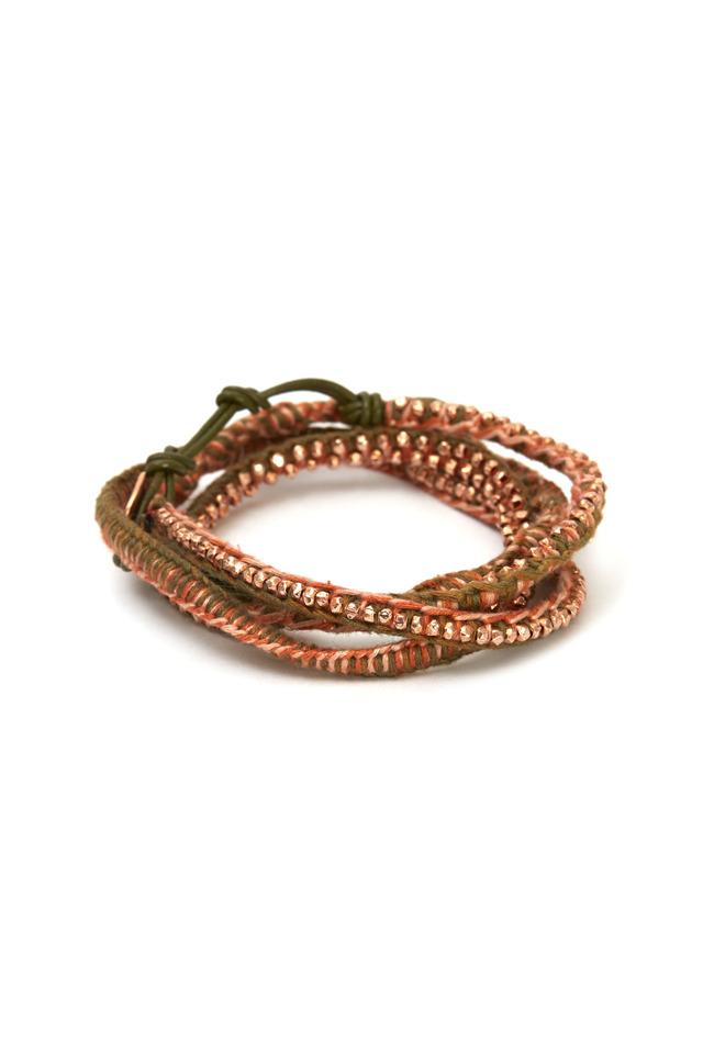 Leather & Cotton Wrap Bracelet