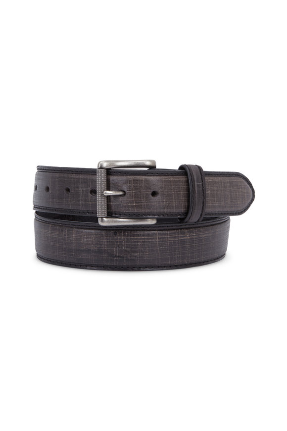 Aquarius The Lapo Black Vintage Scarred Leather Belt