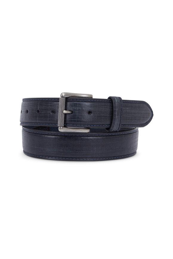 Aquarius The Lapo Blue Vintage Scarred Leather Belt