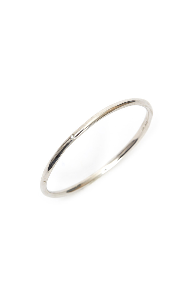 Sterling Silver White Sapphire Round Bangle