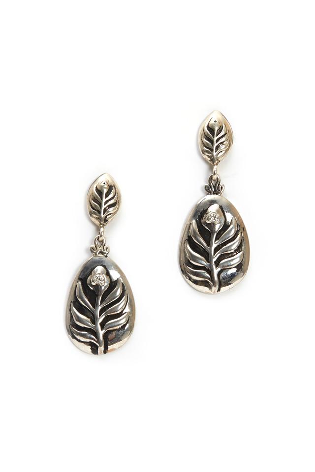 Sterling Silver & Diamond Leaf Earrings