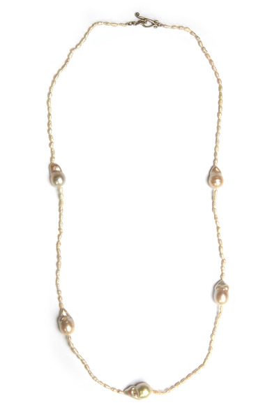 Robin Rotenier - Sterling Silver White Topaz Baroque Pearl Necklace