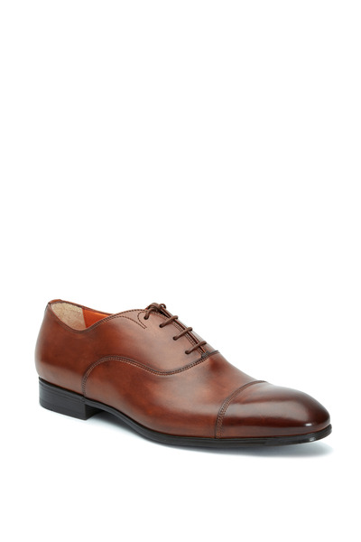 Santoni - Salem Brown Leather Burnished Cap-Toe Oxford