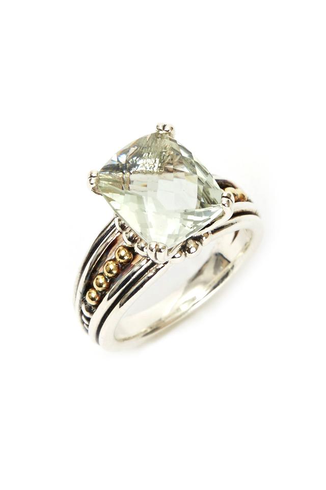Silver Green Amethyst Medium Prism Ring