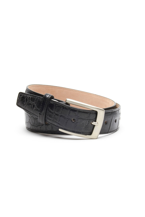 Olop Black Matte Crocodile Leather Belt