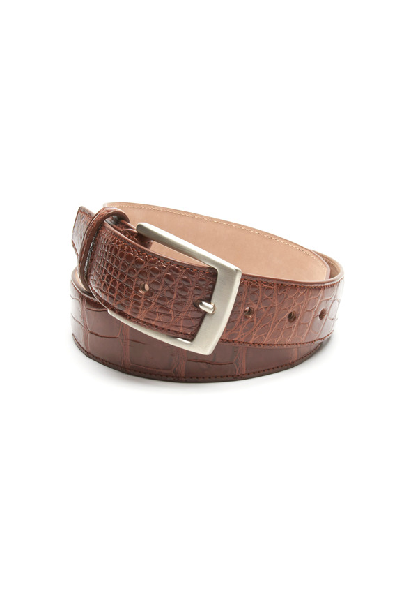 Olop Brown Matte Crocodile Leather Belt