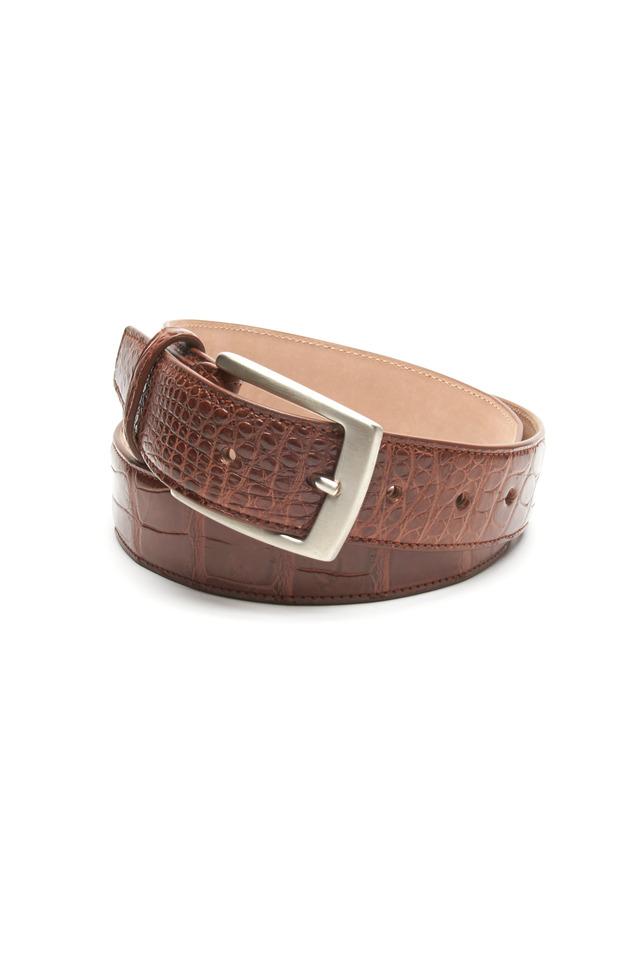Brown Matte Crocodile Leather Belt