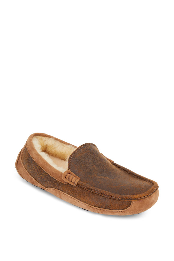 Ugg Ascot Dark Brown Leather & Suede Shearling Slipper