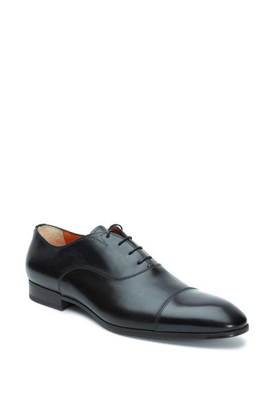Santoni - Salem Black Leather Cap-Toe Oxford