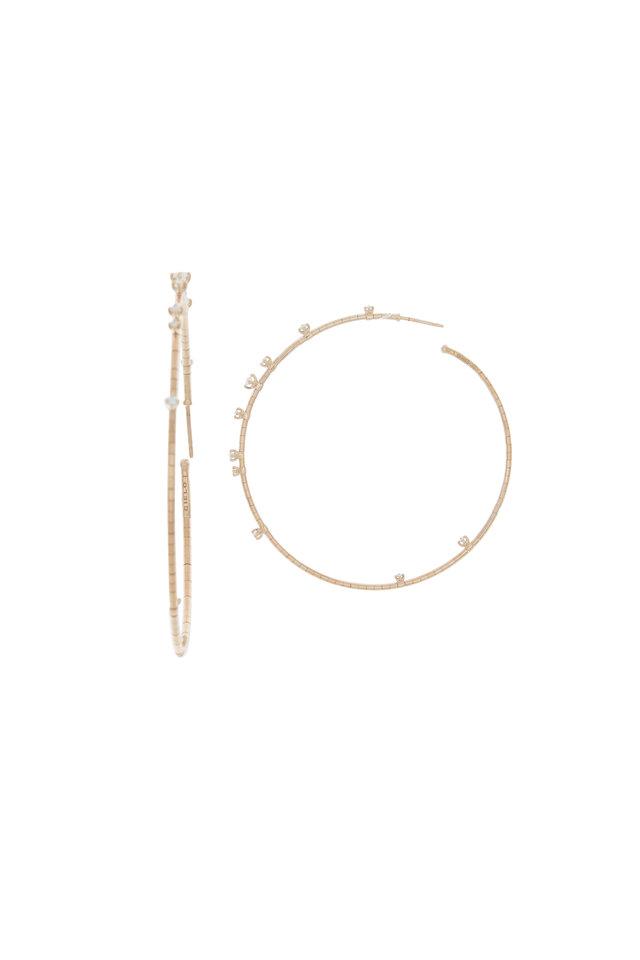 18K Rose Gold Diamond Coil Hoops