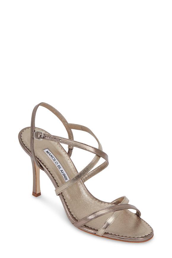 Manolo Blahnik Bayan Gunmetal Ankle Strap Sandal, 90mm