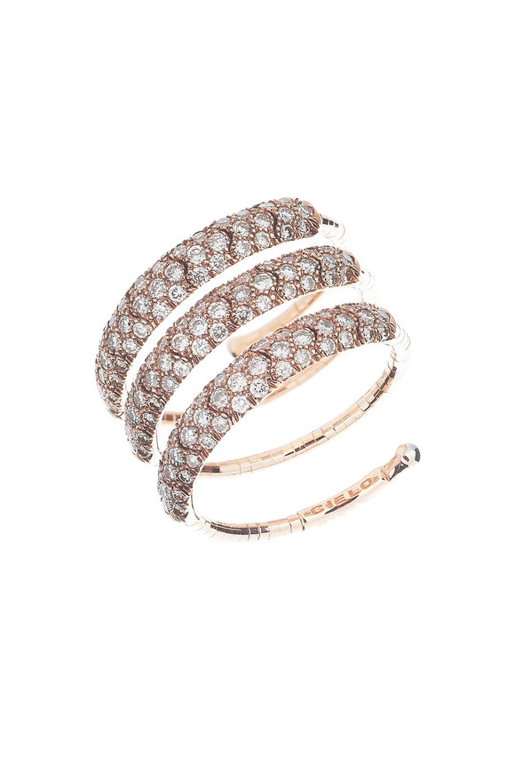 Mattia Cielo Gold & Titanium Diamond Coil Ring
