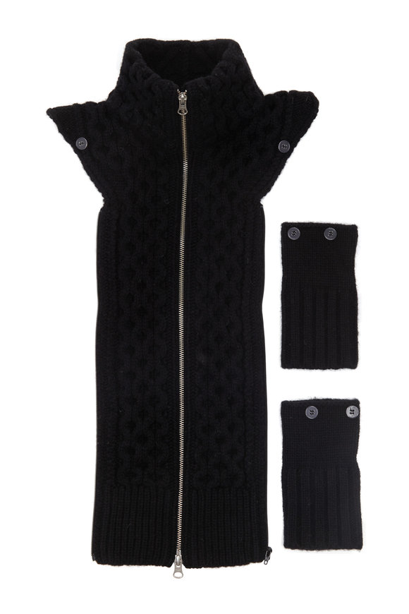 Veronica Beard Upstate Black Cable Wool Dickey