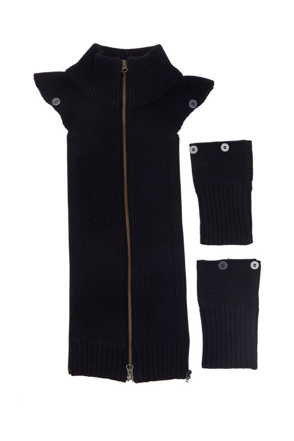 Veronica Beard Uptown Black & Navy Blue Ribbed Wool Dickey