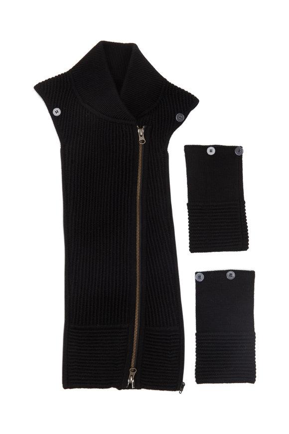 Veronica Beard Ottoman Black Ribbed Wool Dickey