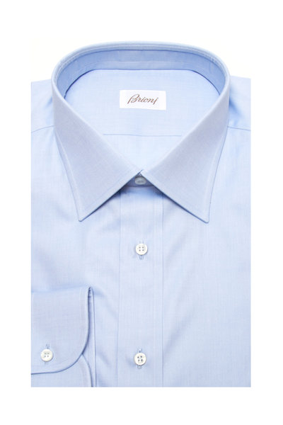 Brioni - Solid Blue Dress Shirt