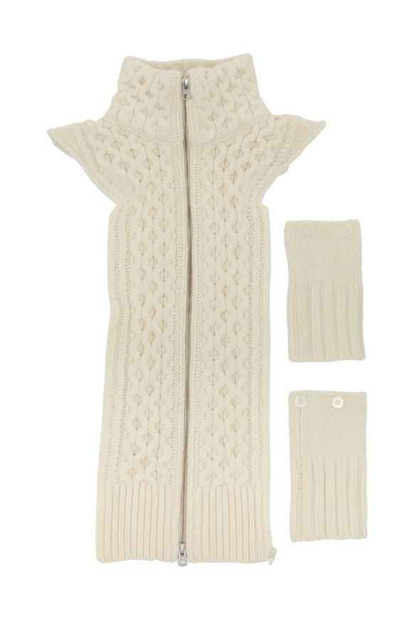 Veronica Beard Upstate Ivory Cable Wool Dickey